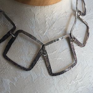 Vintage Jewelry - Hammered Sterling Silver Square Linked Necklace